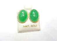 14K Solid Gold Jade Oval Studs