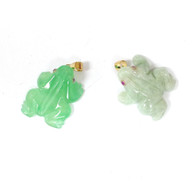 14K Solid Gold Bail Jade Frog Pendant