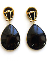 14K Gold French Back Natural Stone Teardrop Earrings