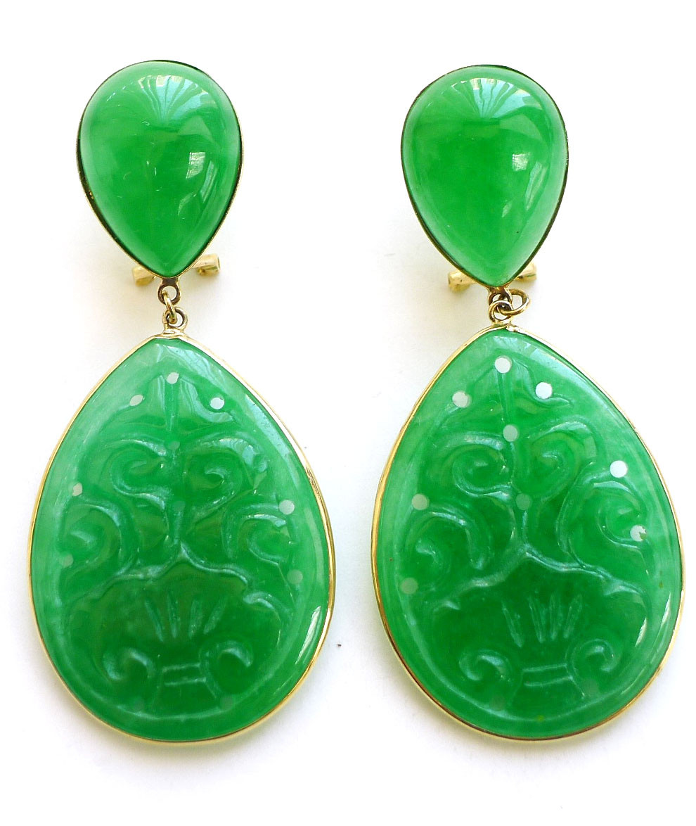 2be470f0876f3 14k Solid Gold French Back Carved Jade Teardrop Earrings