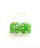 14K Gold Post Small Jade Elephant Stud Earrings