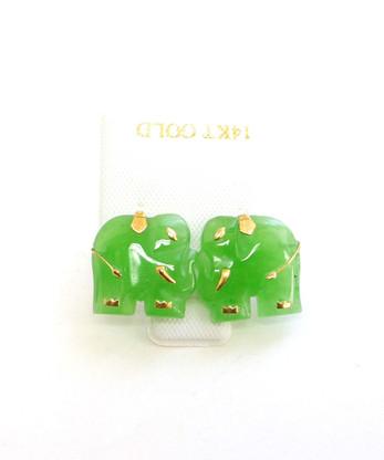 14k gold post small jade elephant stud earrings freerunsca Images