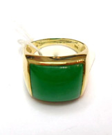 14K Gold Square Jade Ring
