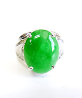 14K White Gold Oval Jade Diamond Ring