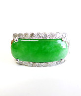 14K White Gold Small Rectangle Jade Diamond Ring