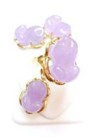 14K Gold Purple Jade Frog Set