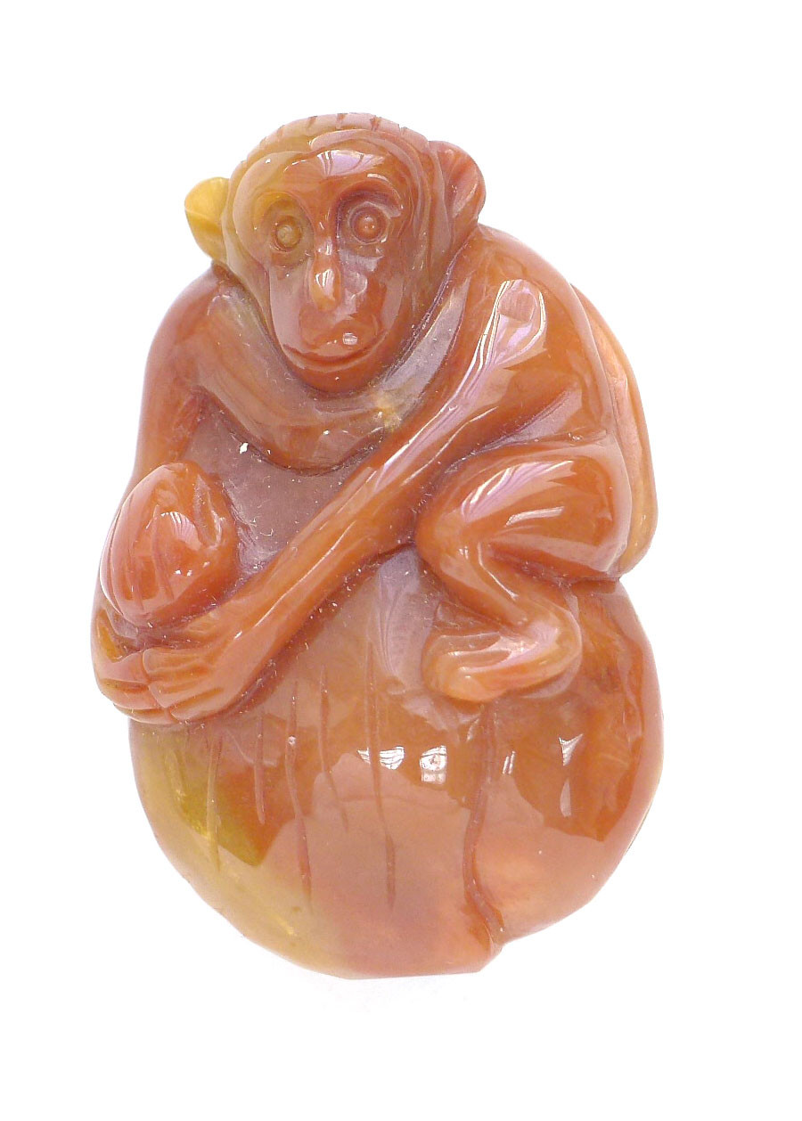 Red jade monkey pendant aloadofball Images