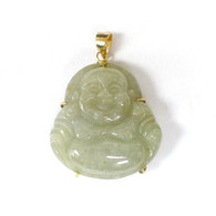 14K Gold Happy Buddha Jade Pendant