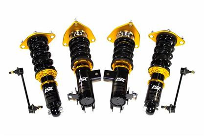 Part Number:  ISC F016-C; Description:  N1 Coilovers; Street Comfort Series; Link Bar Included; Rear Pillowball:  Basic w/ Top Plates, No Camber Plates; Front Pillowball:  Camber Plates/ Pillowball; Rear Spring:  210mm / 3.9&6.6kg; Front Spring: 180mm / 10kg