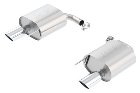 Part Number: bor11889 Description: S-Type; Rear Section Exhaust Material: Stainless Steel Inlet Size (in.): 4 Outlet Size (in.): 4 Exit Position: Split Rear Exhaust Type: Single Exit Style: Straight