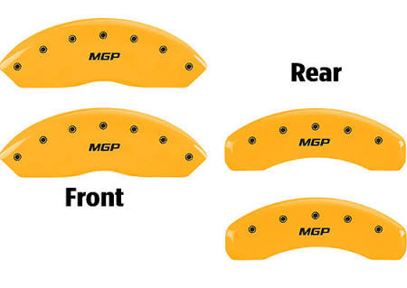Part Number:    mgp10202SMGPYL Description:      MGP 4 Caliper Covers Engraved Front & Rear MGP Yellow finish black ch Attachment Method:    Patented Clip On System Color:          Yellow Powder Coat Finish, Black Characters
