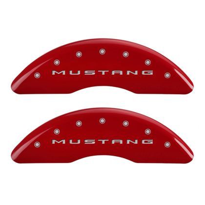 Part Number:      mgp10204SM32RD Description:        MGP 4 Caliper Covers Engraved Front 2015/Mustang Engraved Rear 2015/37 Red finish silver ch Attachment Method:    Patented Clip On System Color:          Red Powder Coat Finish, Silver Characters.
