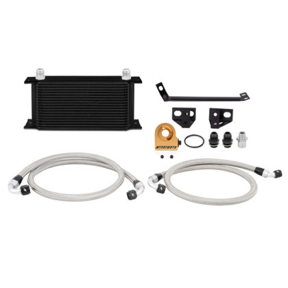 Part Number:      MMOC-MUS4-15TBK Description:         Ford Mustang EcoBoost Thermostatic Oil Cooler Kit Color:                     Black Finish:                    Painted Material:               Aluminum