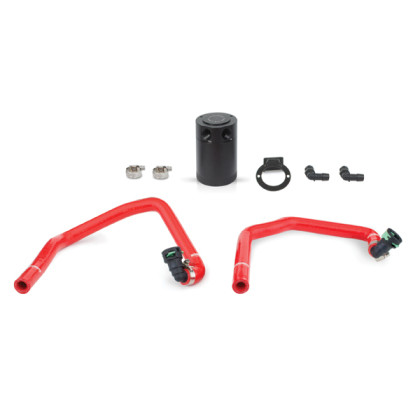 Part Number:           MMBCC-MUS4-15PRD Description:              Ford Mustang EcoBoost Baffled Oil Catch Can, PCV Side Color:                           Red Finish:                         Anodized Material:                    Aluminum