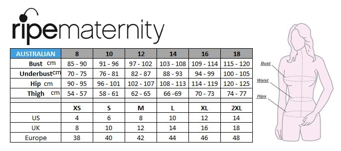 Maternity Size Chart | Motherhood Closet - Maternity Consignment