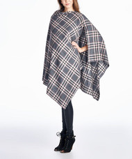 Grey Hello Miz Maternity Plaid  Nursing Snap Up Poncho (Like New - Size Small)