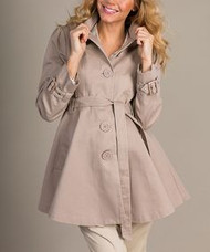 *New* Beige Mom2Mom Maternity Long Lined Button Down Pea Coat (Size - 42)