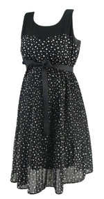 Black Motherhood Maternity Sleeveless Pleated Polk-A-Dot Career Dress (Like New - Size Small)