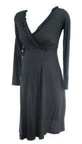 Black GAP Maternity Long Sleeve Wrap Maternity Dress (Gently Used - Size Small)