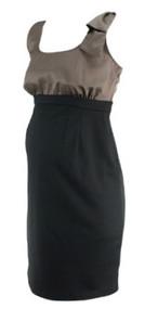 Two Tone Motherhood Maternity Half Brown Satin Half Black Career Dress (Gently Used - Size Small)