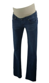 Medium Wash Lilac Maternity Full Panel Maternity Straight Leg Designer Jeans (Like New - Size X-Small)
