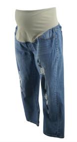 Blue Denim Liverpool Jeans Company Distressed Maternity the Crop Boyfriend Maternity Jeans (Like New - Size 12/31)