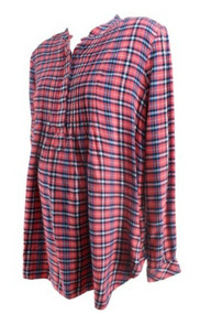 Pink Plaid GAP Maternity Casual Long Sleeves Popover Maternity Shirt (Gently Used - Size Large)