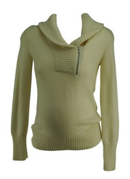 Cream GAP Maternity Half Zip Casual Long Sleeve Knitted Maternity Sweater (Gently Used - Size Small)