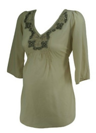 Nude A Pea in the Pod Maternity Embellished 3/4 Sleeve Maternity Blouse (Gently Used - Size Small)