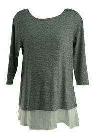 Heather Gray A Pea in the Pod Maternity 3/4 Sleeve Exclusive White Trim Blouse (Like New - Size Large)