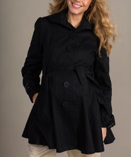 *New* Black Mom2Mom Maternity Thick Trench Coat  (Size - 36UK/ Size 6 USA)