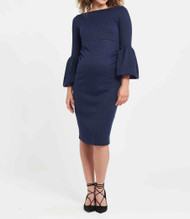 Navy Soon Maternity Myra Ruffle Sleeve Maternity Dress (Like New  - Size Medium)