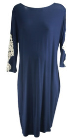 *New* Navy Pink Blush Maternity Crochet Sleeve Maternity Dress (Size - X-Large)