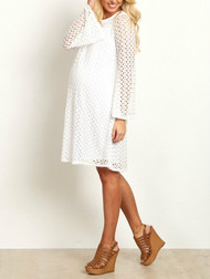 *New* White Pink Blush Maternity Open Lace Overlay Bell Sleeve Maternity Dress (Size - Medium)