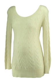 Cream A Pea in the Pod Maternity Scoop Neck 100% Cashmere Cable Knit Maternity Sweater (Second Hand - Size Medium)