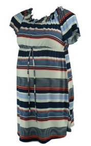 Navy, White and Orange Diana Belle Ruffle Neck Career Maternity Tunic (Like New - Size X-Large)
