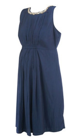 Navy A Pea in the Pod Maternity Embellished Sleeveless Maternity Dress (Like New - Size Medium)