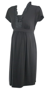 Black A Pea in the Pod Maternity Ruffle Collar Short Sleeve Maternity Dress (Gently Used - Size Medium)