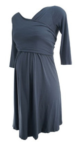 Gray Isabella Oliver Maternity 3/4 Sleeve Maternity Wrap Dress (Like New - Size 1)