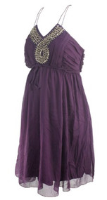 *New* Purple Motherhood Maternity Embellished Halter Special Occasion Maternity Dress (Size Medium)