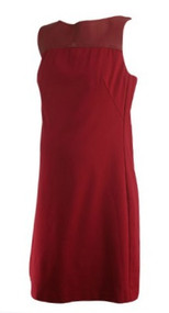 Brick Red Trina Turk Sleeveless Boot Neck Career Maternity Dress (Gently Used - Size Medium)