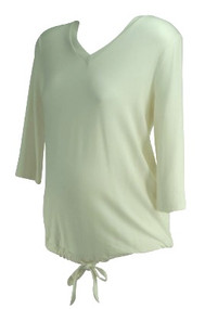 Cream Summer & Sage Maternity V-Neck Lightweight Maternity Top (Gently Used - Size Large)