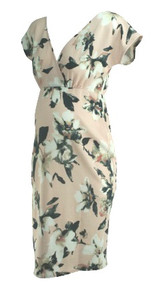 *New* Pink Floral Print Pink Blush Maternity Crossover Special Occasion Maternity Dress (Size Large)