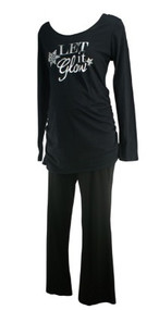 *New* Black A Pea in the Pod Maternity Two Piece Nursing Sleepwear Maternity Set (Size Large)