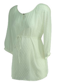 *New* White A Pea in the Pod Maternity Sheer Puff Ball Design Maternity Blouse (Size Medium)