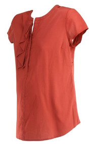 *New* Rustic Red A Pea in the Pod Maternity Half Ruffle Design Career Maternity Blouse (Size Medium)