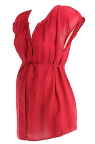 Postbox Red A Pea in the Pod Maternity Career Silk Maternity Blouse (Like New - Size Medium)