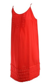 *New* Deep Coral A Pea in the Pod Maternity Spaghetti Strap Ruffled Shift Dress (Size Large)