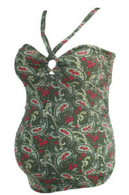 Olive Green Motherhood Maternity Paisley Print Tankini Maternity Swim Top (Gently Used - Size Large)