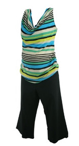 Black Motherhood Maternity Lot of 2 Cropped Pants and Striped Maternity Top (Gently Used - Size Medium)
